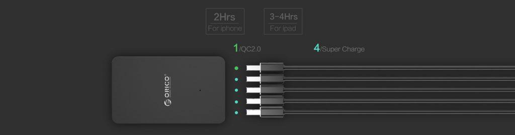 شارژر رومیزی 5 پورت با خروجی QC 2.0