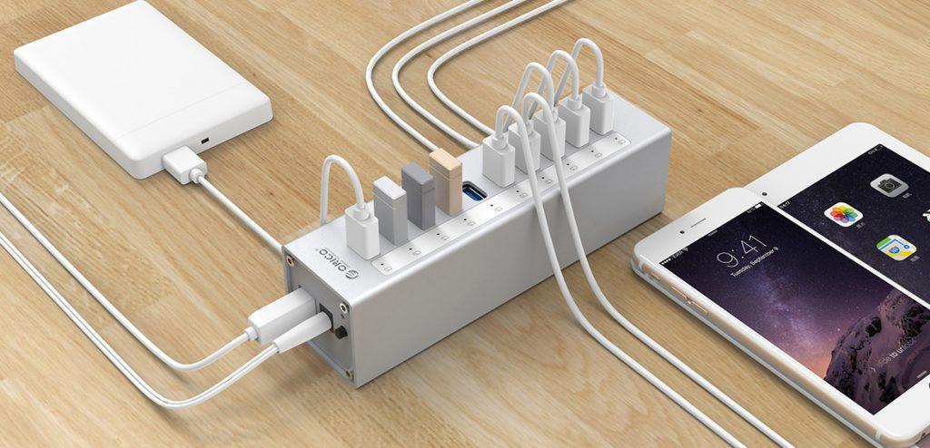 هاب 10 پورت USB 3.0 آلومینیومی با آداپتور
