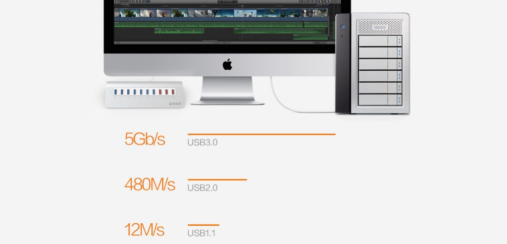 هاب 10 پورت فلزی USB 3.0 با 3 پورت شارژ