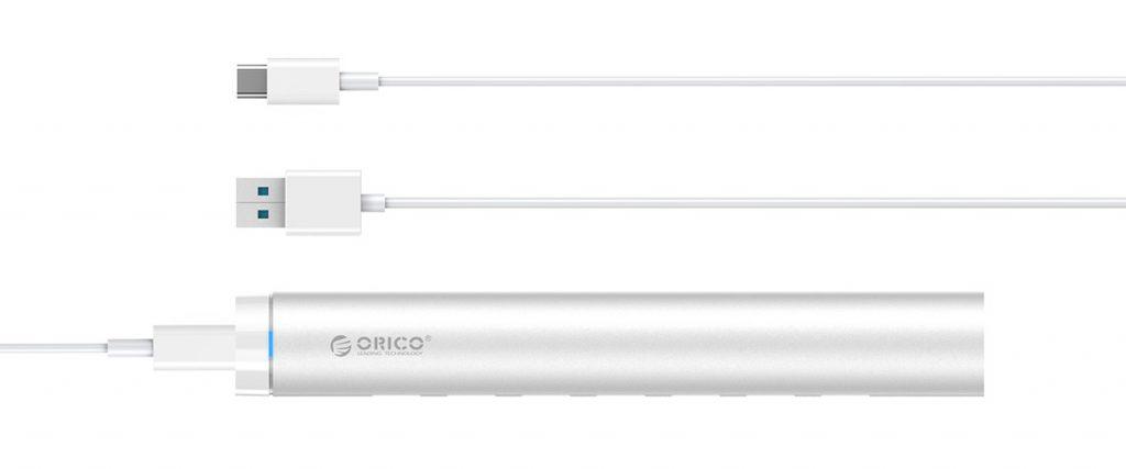 هاب 7 پورت USB 3.0 مدادی با آداپتور
