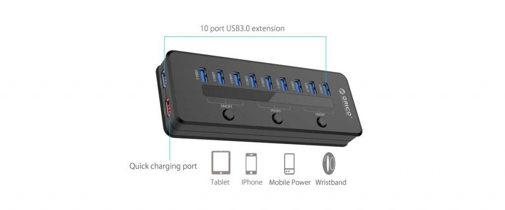 هاب 10 پورت USB 3.0 با 1 پورت شارژ
