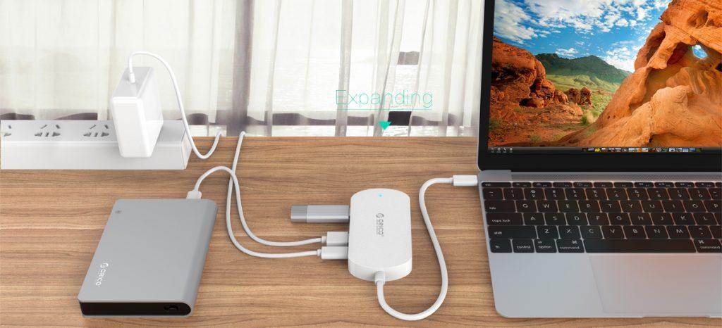 هاب 4 پورت Type-c USB 3.1
