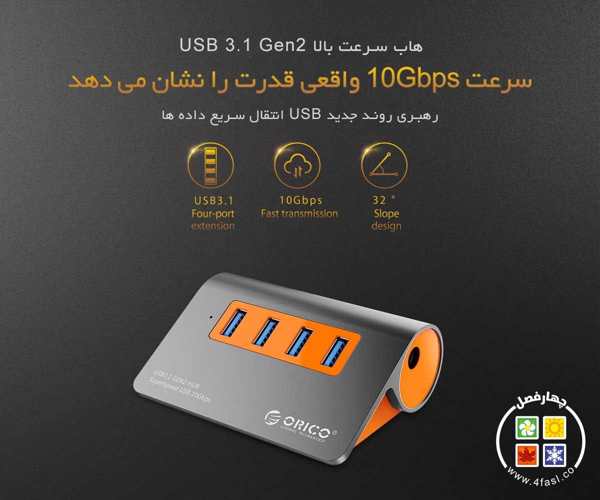 هاب 4 پورت USB3.1 Gen2